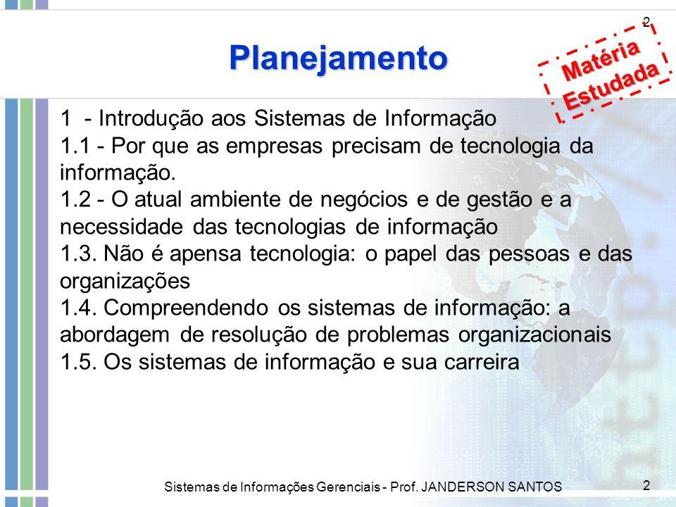 Sistemas de Informações Gerenciais - Prof. JANDERSON SANTOS 2 Planejamento 2 1 - Introdução aos Sistemas de Informação 1.1 - Por que as empresas preci