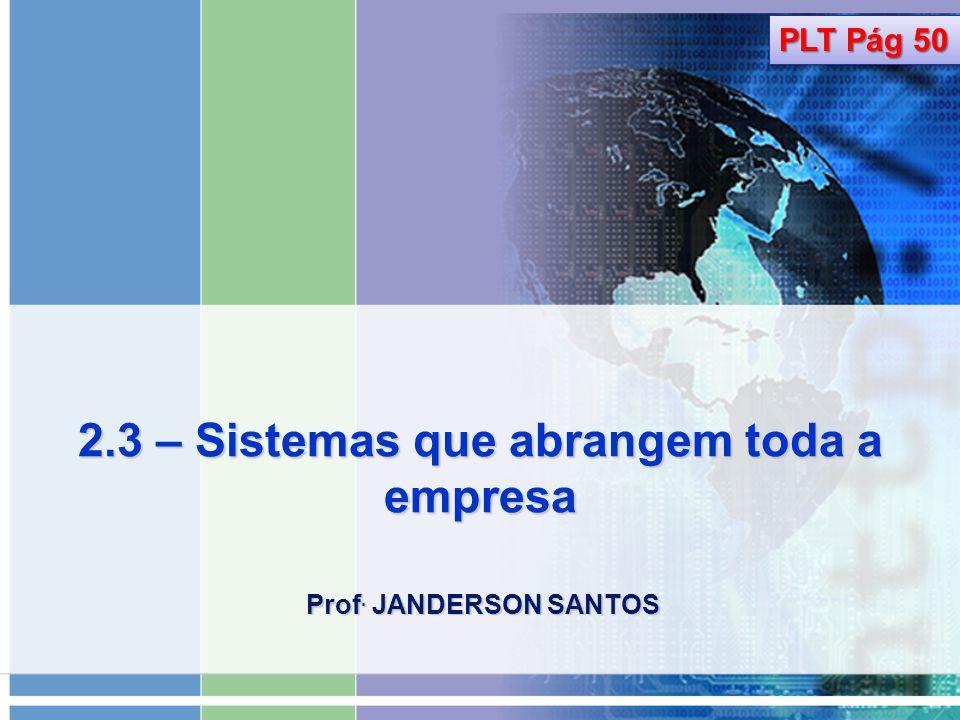 2.3 – Sistemas que abrangem toda a empresa Prof. JANDERSON SANTOS PLT Pág 50