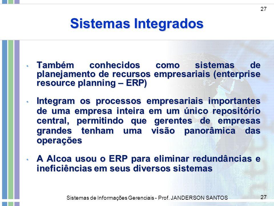 Sistemas de Informações Gerenciais - Prof. JANDERSON SANTOS 27 Sistemas Integrados 27 Também conhecidos como sistemas de planejamento de recursos empr
