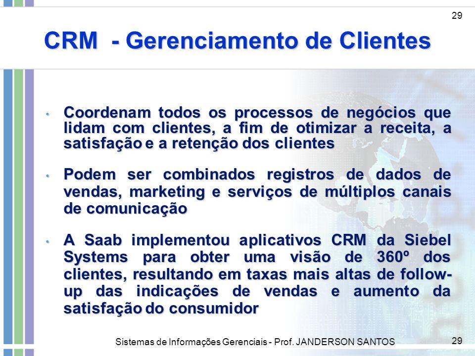 Sistemas de Informações Gerenciais - Prof. JANDERSON SANTOS 29 CRM - Gerenciamento de Clientes 29 Coordenam todos os processos de negócios que lidam c