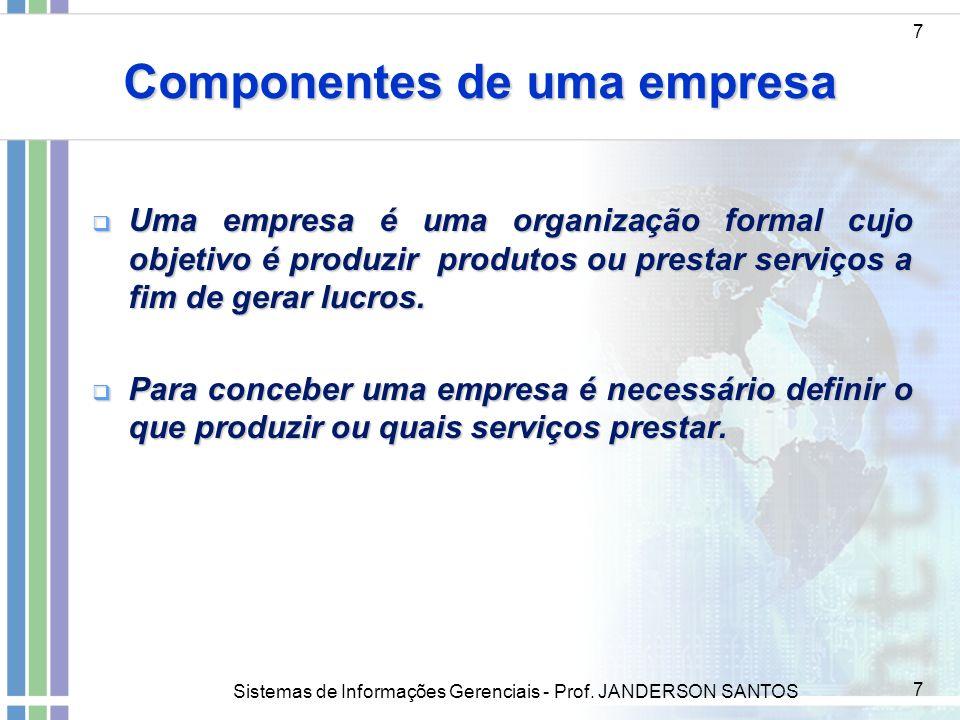 Sistemas de Informações Gerenciais - Prof. JANDERSON SANTOS 7 Componentes de uma empresa 7 Uma empresa é uma organização formal cujo objetivo é produz