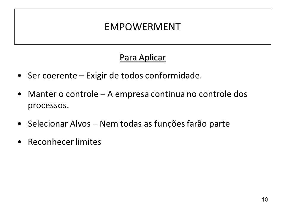10 EMPOWERMENT Para Aplicar Ser coerente – Exigir de todos conformidade. Manter o controle – A empresa continua no controle dos processos. Selecionar