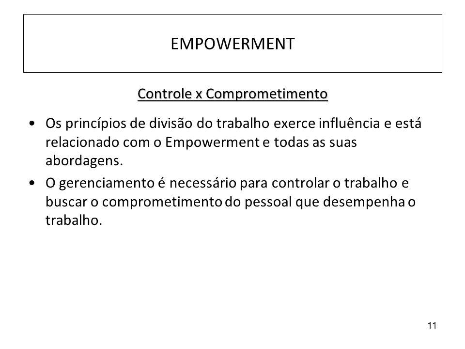 11 EMPOWERMENT Controle x Comprometimento Os princípios de divisão do trabalho exerce influência e está relacionado com o Empowerment e todas as suas