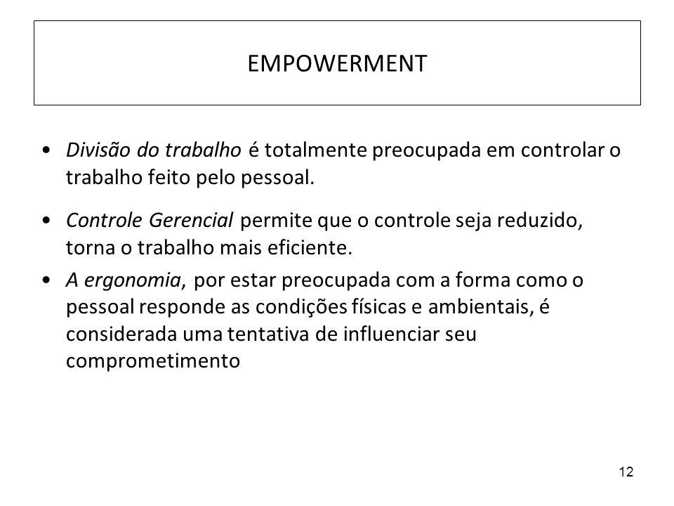 12 EMPOWERMENT Divisão do trabalho é totalmente preocupada em controlar o trabalho feito pelo pessoal. Controle Gerencial permite que o controle seja