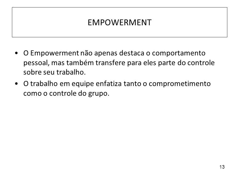 13 EMPOWERMENT O Empowerment não apenas destaca o comportamento pessoal, mas também transfere para eles parte do controle sobre seu trabalho. O trabal