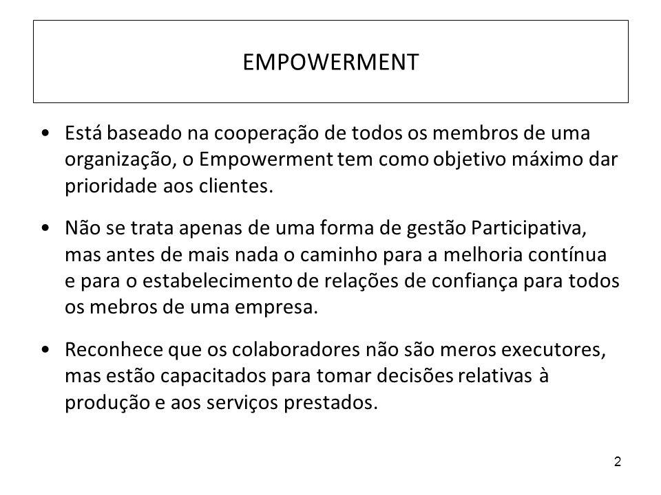 2 EMPOWERMENT Está baseado na cooperação de todos os membros de uma organização, o Empowerment tem como objetivo máximo dar prioridade aos clientes. N