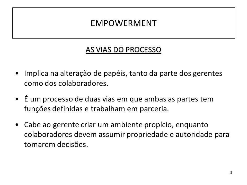 4 EMPOWERMENT AS VIAS DO PROCESSO Implica na alteração de papéis, tanto da parte dos gerentes como dos colaboradores. É um processo de duas vias em qu
