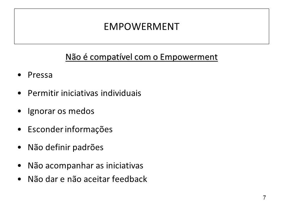 7 EMPOWERMENT Não é compatível com o Empowerment Pressa Permitir iniciativas individuais Ignorar os medos Esconder informações Não definir padrões Não