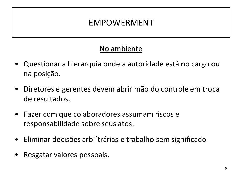8 EMPOWERMENT No ambiente Questionar a hierarquia onde a autoridade está no cargo ou na posição. Diretores e gerentes devem abrir mão do controle em t