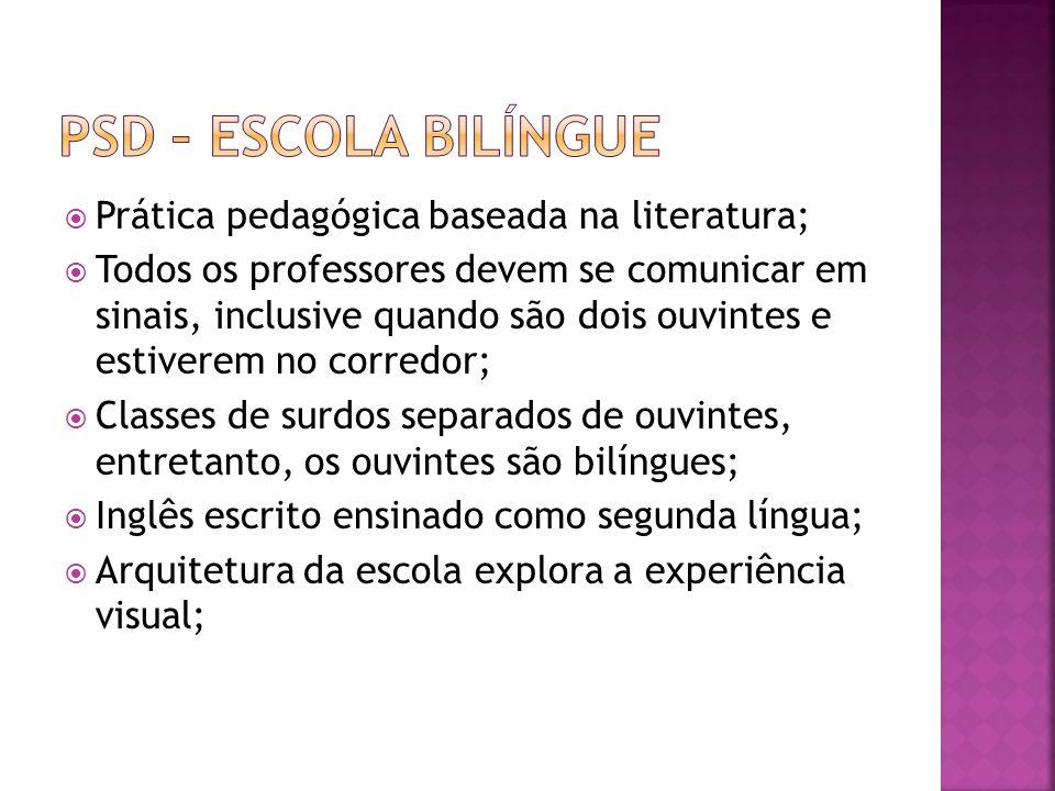 Prática pedagógica baseada na literatura; Todos os professores devem se comunicar em sinais, inclusive quando são dois ouvintes e estiverem no corredo