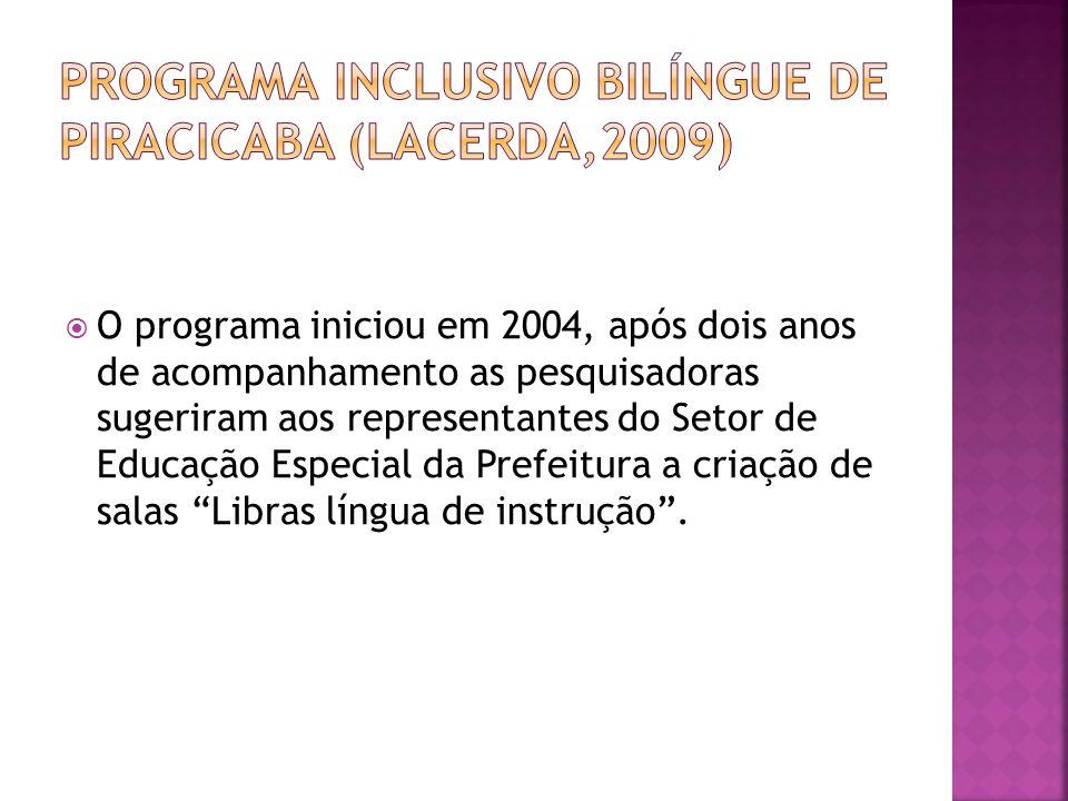 O programa iniciou em 2004, após dois anos de acompanhamento as pesquisadoras sugeriram aos representantes do Setor de Educação Especial da Prefeitura