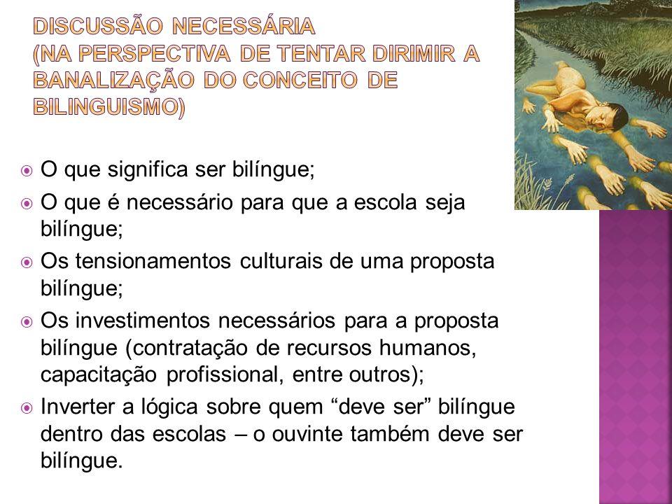 O que significa ser bilíngue; O que é necessário para que a escola seja bilíngue; Os tensionamentos culturais de uma proposta bilíngue; Os investiment