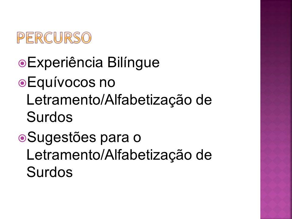 Experiência Bilíngue Equívocos no Letramento/Alfabetização de Surdos Sugestões para o Letramento/Alfabetização de Surdos