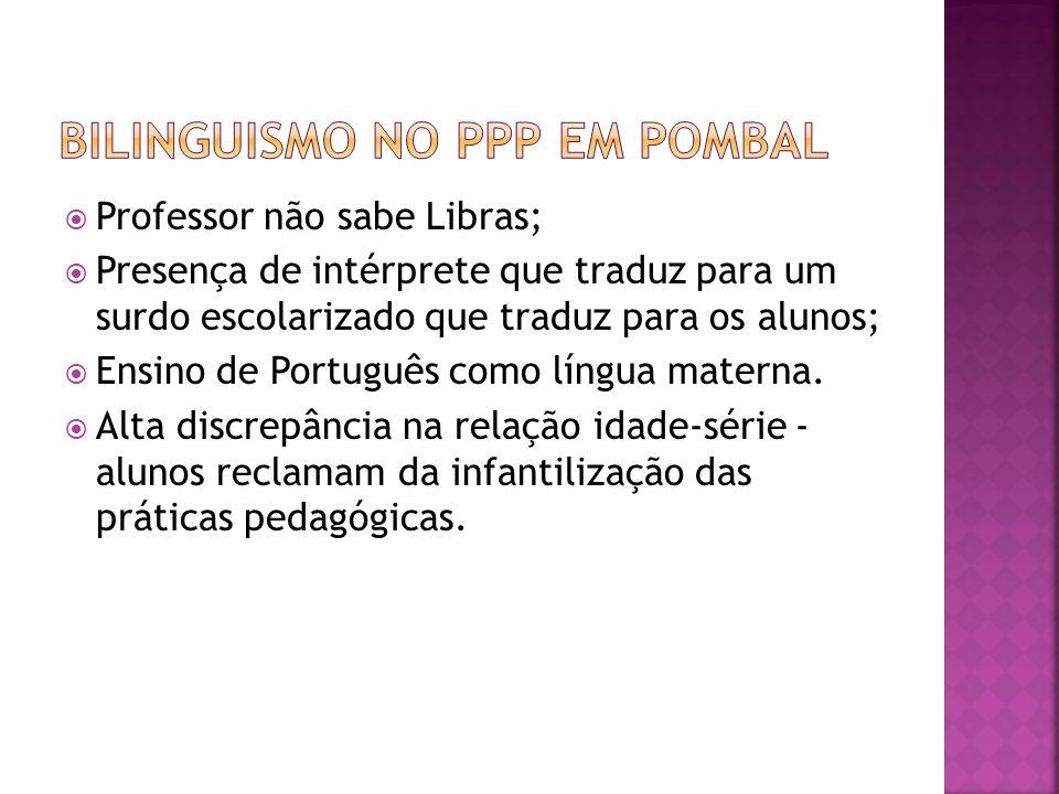 Professor não sabe Libras; Presença de intérprete que traduz para um surdo escolarizado que traduz para os alunos; Ensino de Português como língua mat