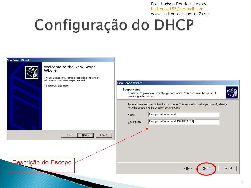 11 Descrição do Escopo Prof. Hudson Rodrigues Ayres hudsoncal155@hotmail.com www.Hudsonrodrigues.rel7.com