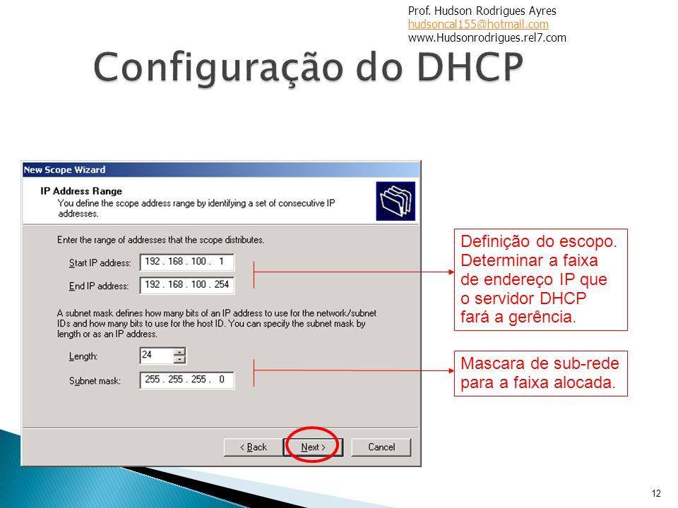 12 Definição do escopo. Determinar a faixa de endereço IP que o servidor DHCP fará a gerência. Mascara de sub-rede para a faixa alocada. Prof. Hudson