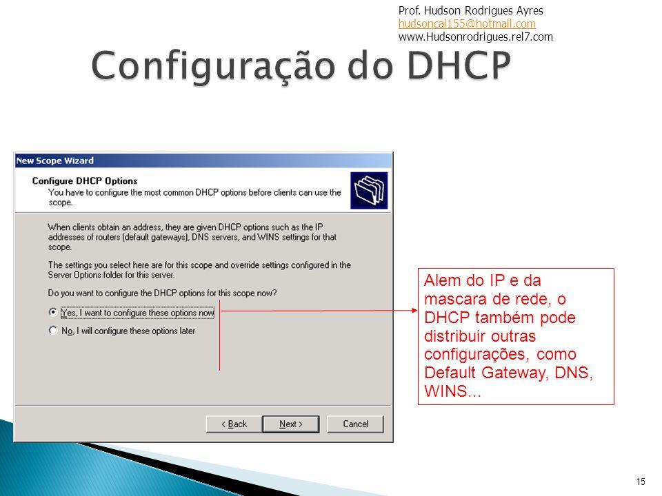 15 Alem do IP e da mascara de rede, o DHCP também pode distribuir outras configurações, como Default Gateway, DNS, WINS... Prof. Hudson Rodrigues Ayre