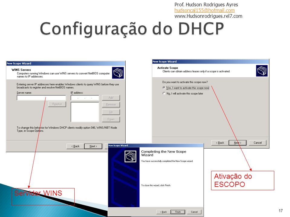 17 Servidor WINS Ativação do ESCOPO Prof. Hudson Rodrigues Ayres hudsoncal155@hotmail.com www.Hudsonrodrigues.rel7.com