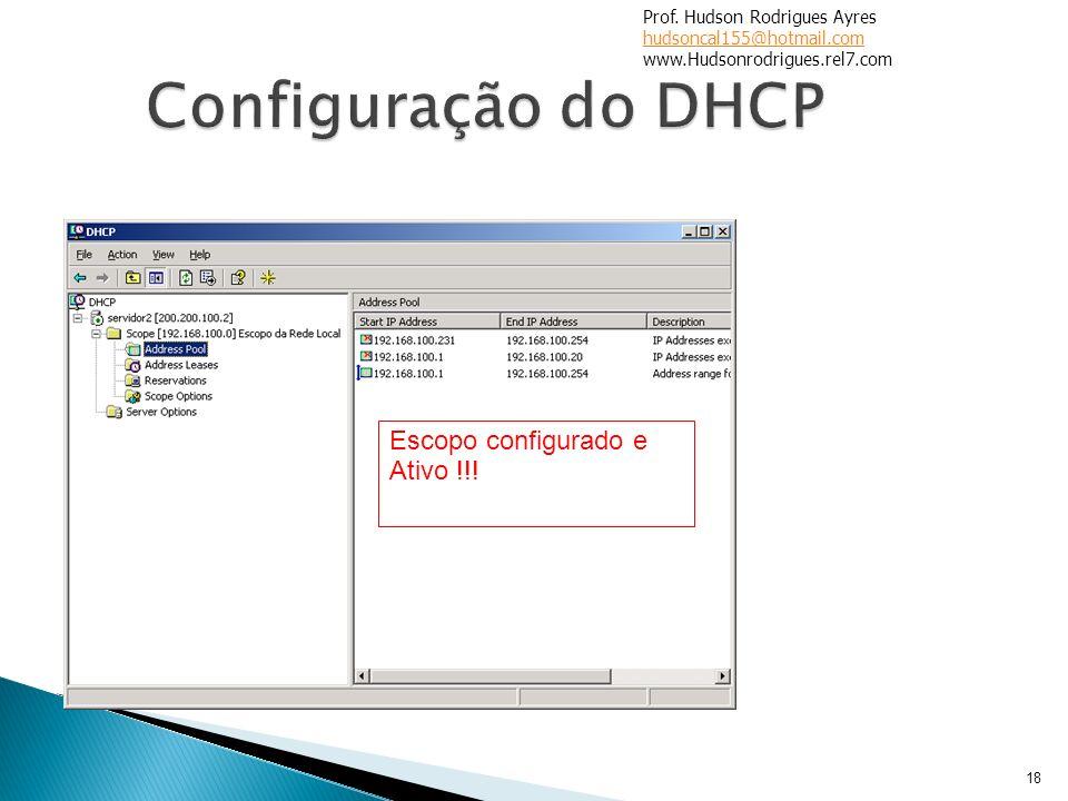 18 Escopo configurado e Ativo !!! Prof. Hudson Rodrigues Ayres hudsoncal155@hotmail.com www.Hudsonrodrigues.rel7.com