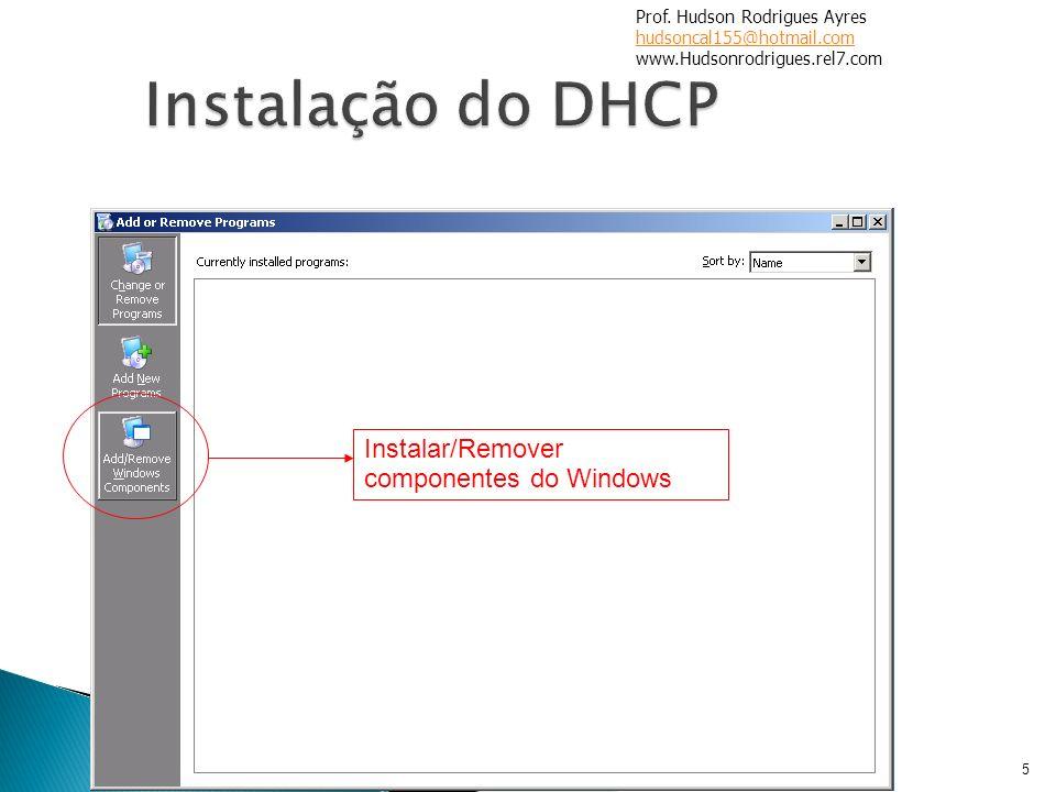 5 Instalar/Remover componentes do Windows Prof. Hudson Rodrigues Ayres hudsoncal155@hotmail.com www.Hudsonrodrigues.rel7.com