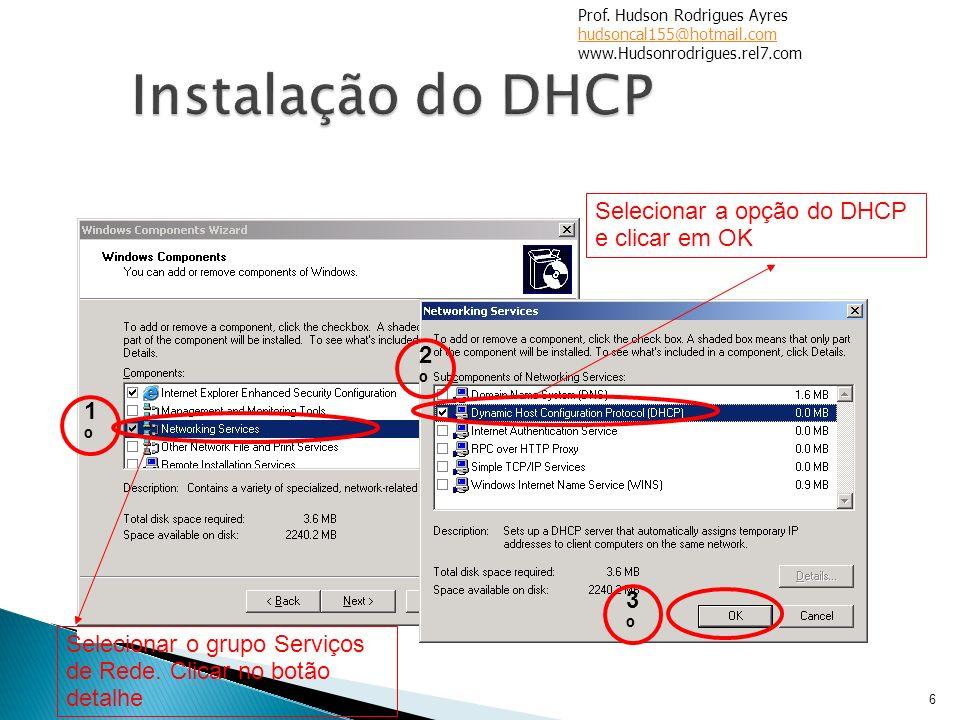 6 Selecionar o grupo Serviços de Rede. Clicar no botão detalhe Selecionar a opção do DHCP e clicar em OK 1º1º 2º2º 3º3º Prof. Hudson Rodrigues Ayres h