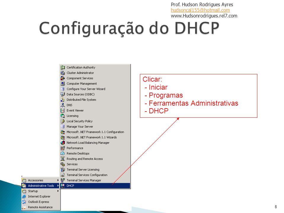 8 Clicar: - Iniciar - Programas - Ferramentas Administrativas - DHCP Prof. Hudson Rodrigues Ayres hudsoncal155@hotmail.com www.Hudsonrodrigues.rel7.co