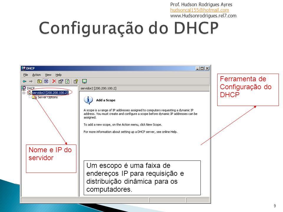 9 Ferramenta de Configuração do DHCP Nome e IP do servidor Um escopo é uma faixa de endereços IP para requisição e distribuição dinâmica para os compu