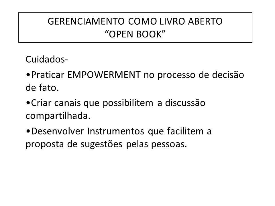GERENCIAMENTO COMO LIVRO ABERTO OPEN BOOK Cuidados- Praticar EMPOWERMENT no processo de decisão de fato. Criar canais que possibilitem a discussão com