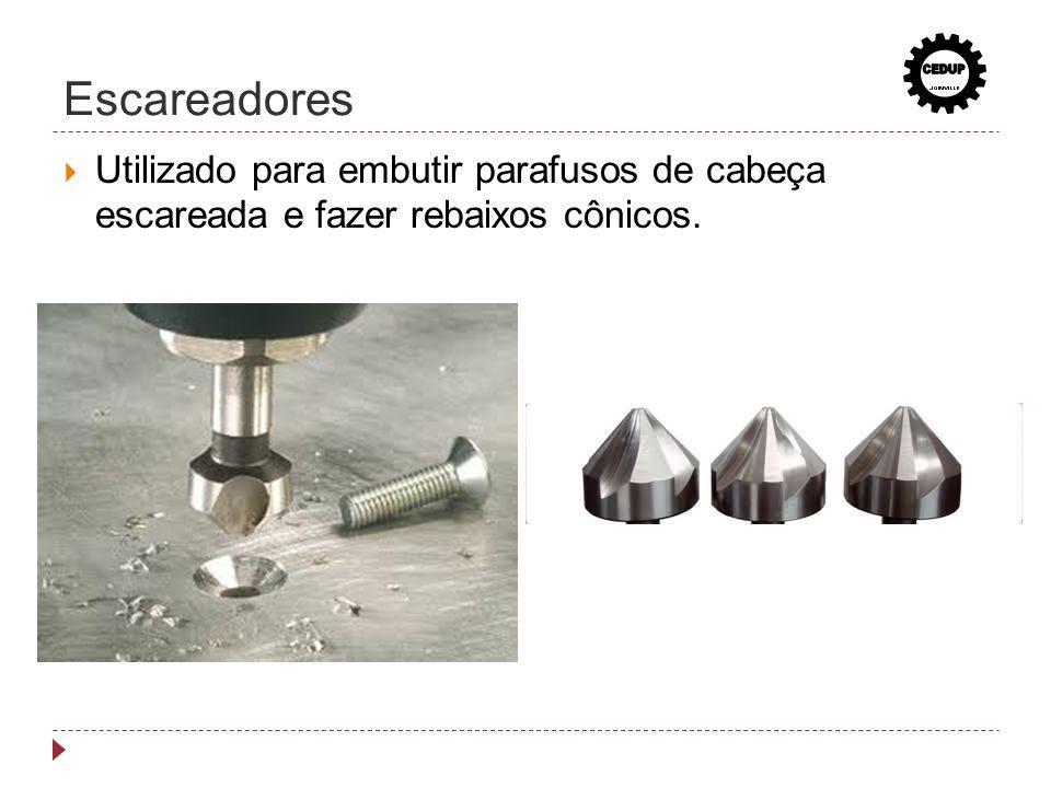Escareadores Utilizado para embutir parafusos de cabeça escareada e fazer rebaixos cônicos.