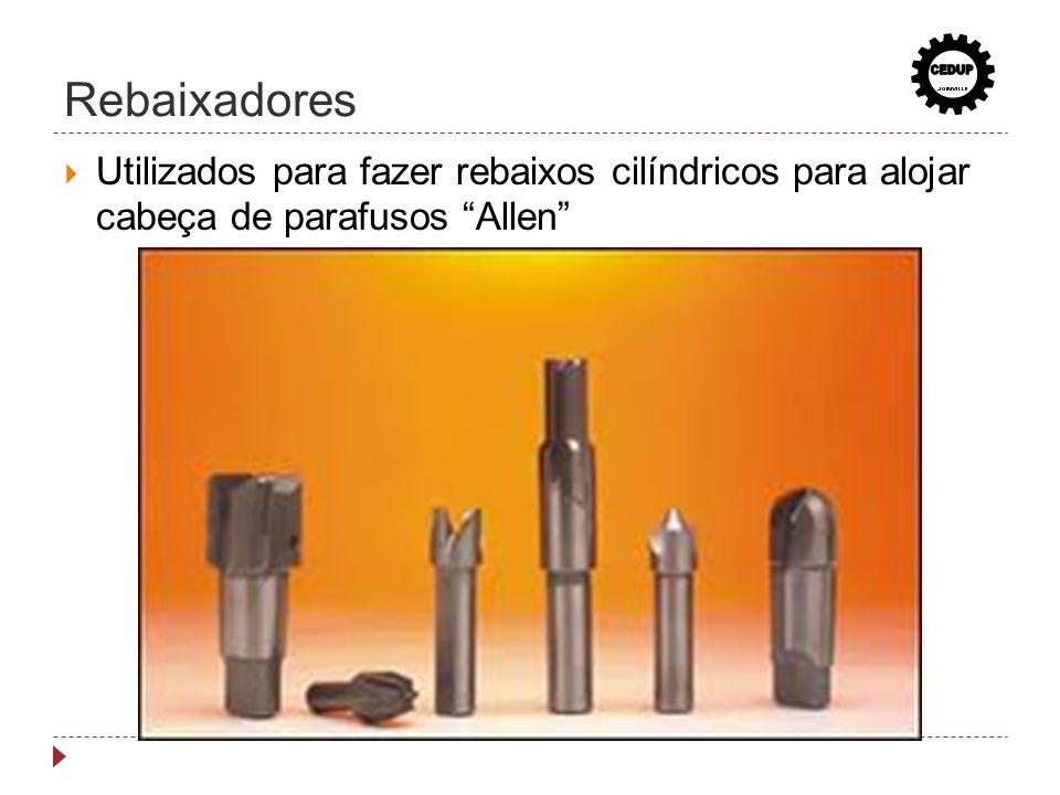 Rebaixadores Utilizados para fazer rebaixos cilíndricos para alojar cabeça de parafusos Allen