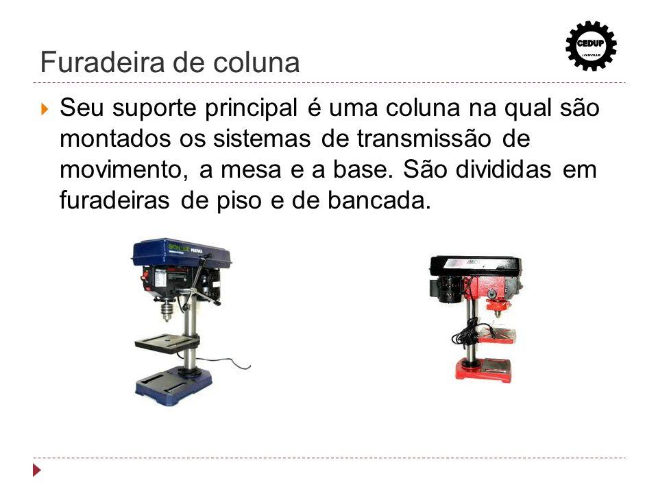 Furadeira de coluna Seu suporte principal é uma coluna na qual são montados os sistemas de transmissão de movimento, a mesa e a base. São divididas em