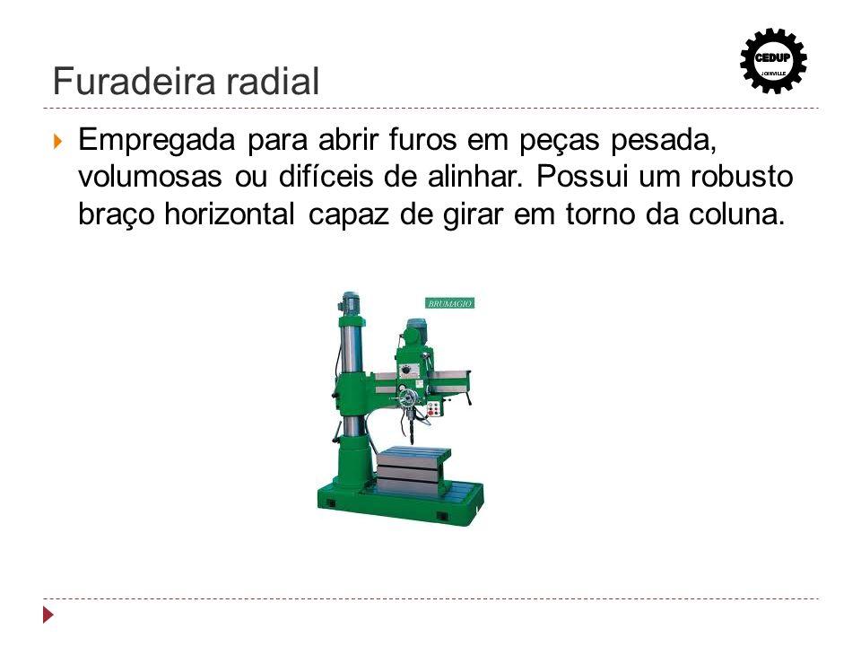 Furadeira radial Empregada para abrir furos em peças pesada, volumosas ou difíceis de alinhar. Possui um robusto braço horizontal capaz de girar em to