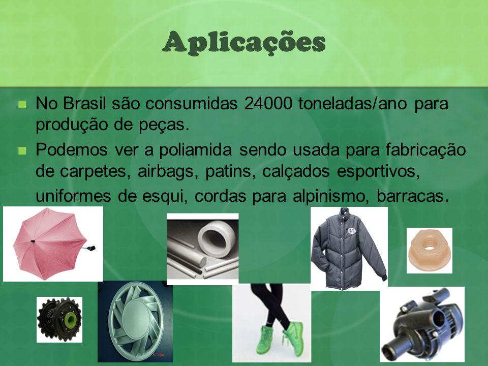 Aplicações No Brasil são consumidas 24000 toneladas/ano para produção de peças. Podemos ver a poliamida sendo usada para fabricação de carpetes, airba