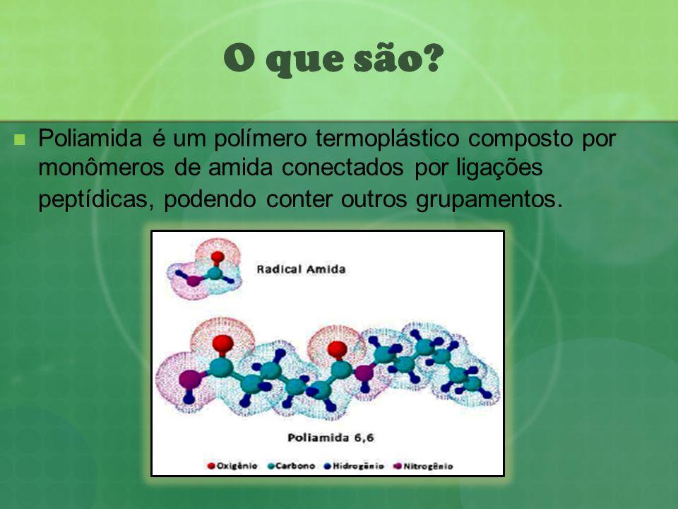 O que são? Poliamida é um polímero termoplástico composto por monômeros de amida conectados por ligações peptídicas, podendo conter outros grupamentos