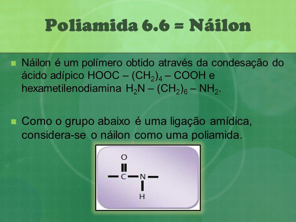 Poliamida 6.6 = Náilon Náilon é um polímero obtido através da condesação do ácido adípico HOOC – (CH 2 ) 4 – COOH e hexametilenodiamina H 2 N – (CH 2