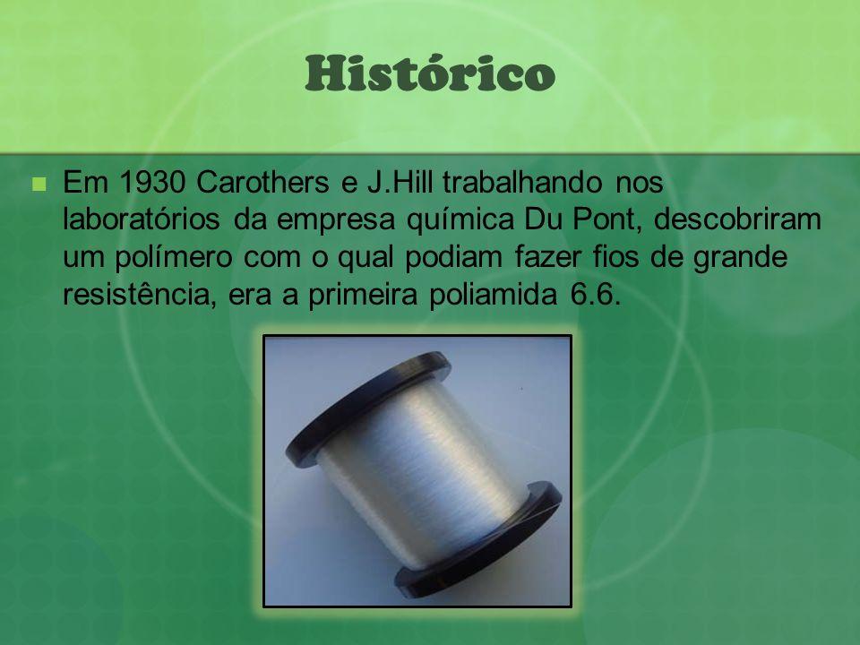 Histórico Em 1930 Carothers e J.Hill trabalhando nos laboratórios da empresa química Du Pont, descobriram um polímero com o qual podiam fazer fios de