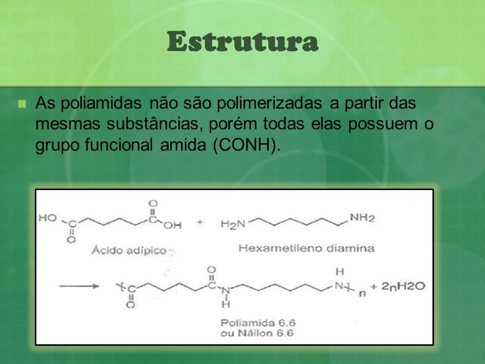 As poliamidas não são polimerizadas a partir das mesmas substâncias, porém todas elas possuem o grupo funcional amida (CONH). Estrutura