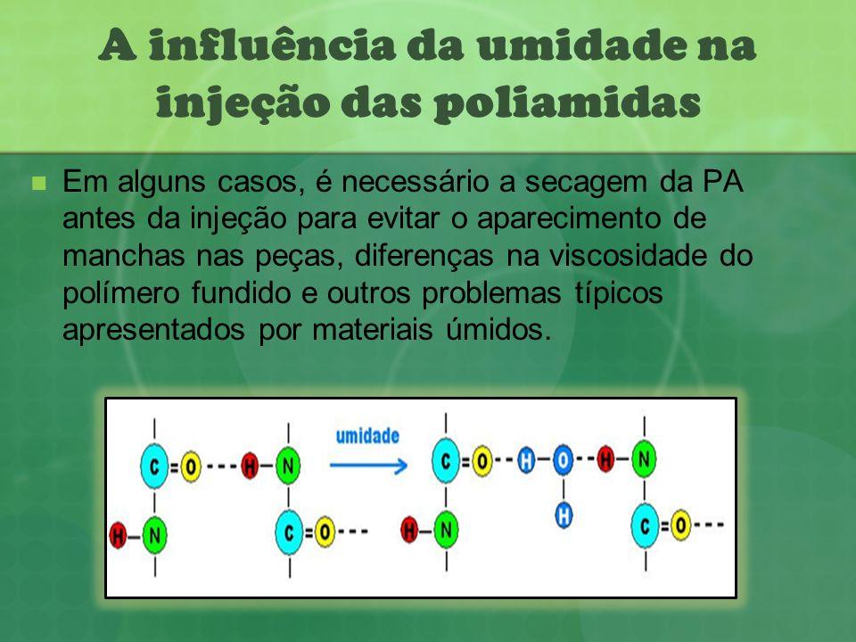 A influência da umidade na injeção das poliamidas Em alguns casos, é necessário a secagem da PA antes da injeção para evitar o aparecimento de manchas