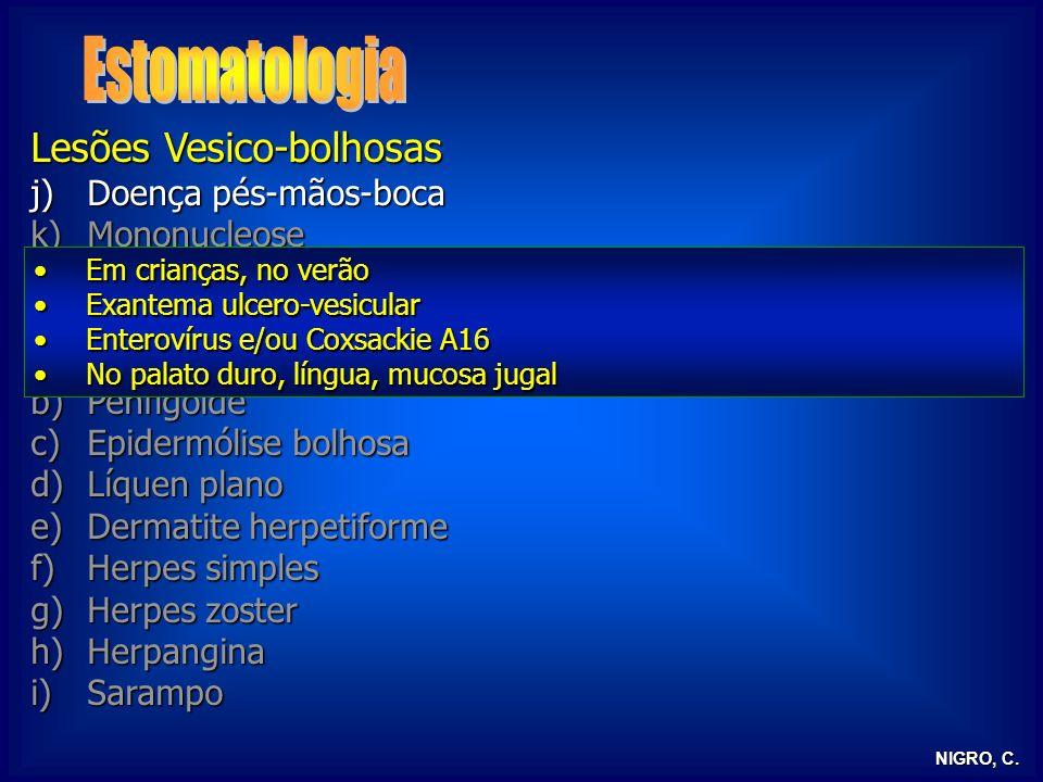 NIGRO, C. Lesões Vesico-bolhosas j)Doença pés-mãos-boca k)Mononucleose l)Eritema polimorfo m)Rubeola a)Pênfigo verdadeiro b)Penfigoide c)Epidermólise