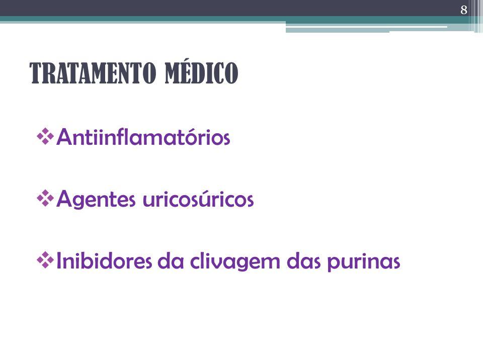 TRATAMENTO MÉDICO Antiinflamatórios Agentes uricosúricos Inibidores da clivagem das purinas 8