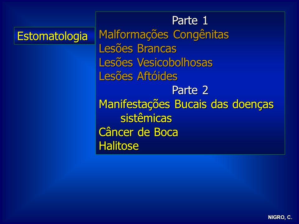 Estomatologia Parte 1 Malformações Congênitas Lesões Brancas Lesões Vesicobolhosas Lesões Aftóides Parte 2 Manifestações Bucais das doenças sistêmicas