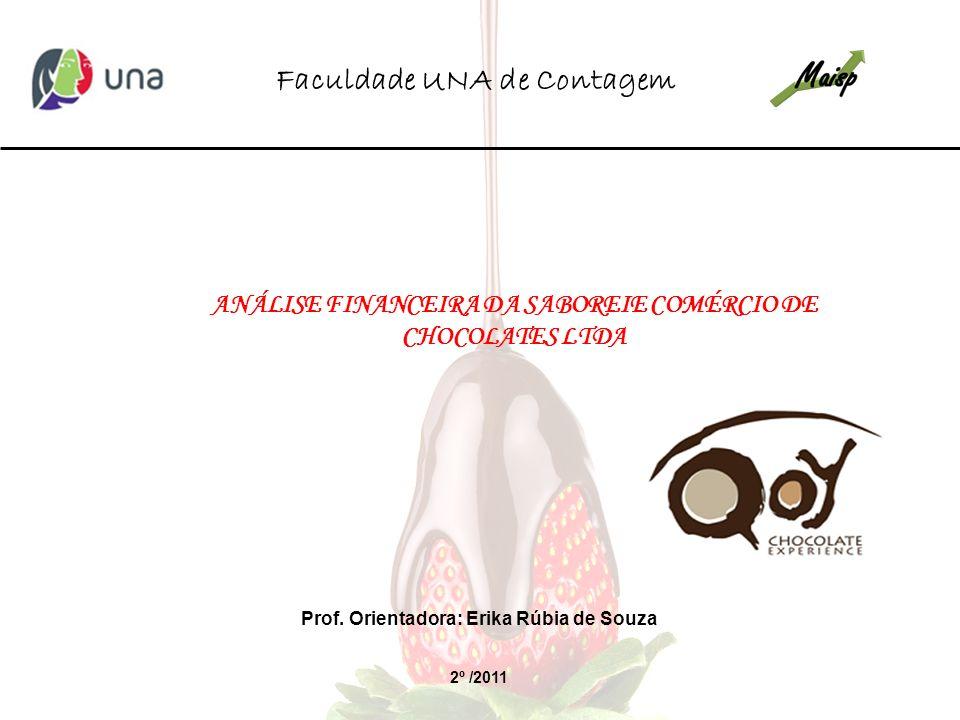 ANÁLISE FINANCEIRA DA SABOREIE COMÉRCIO DE CHOCOLATES LTDA 2º /2011 Faculdade UNA de Contagem Prof. Orientadora: Erika Rúbia de Souza