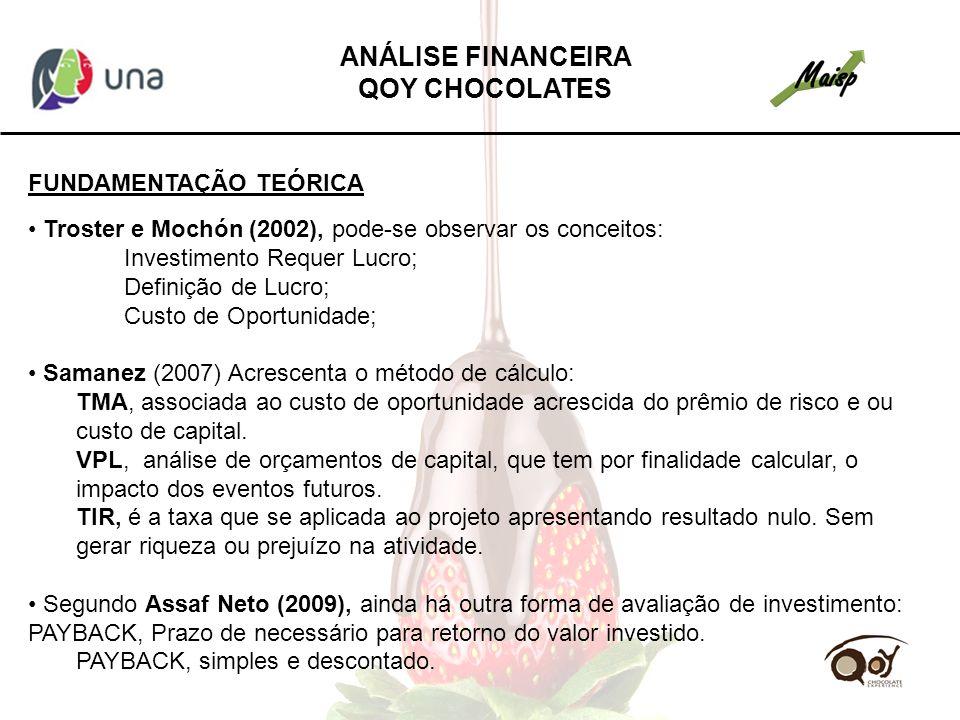 FUNDAMENTAÇÃO TEÓRICA Troster e Mochón (2002), pode-se observar os conceitos: Investimento Requer Lucro; Definição de Lucro; Custo de Oportunidade; Sa