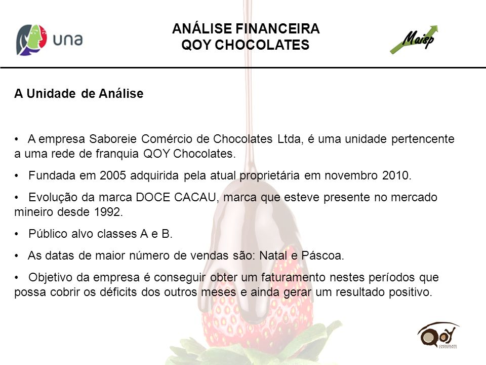 A Unidade de Análise A empresa Saboreie Comércio de Chocolates Ltda, é uma unidade pertencente a uma rede de franquia QOY Chocolates. Fundada em 2005