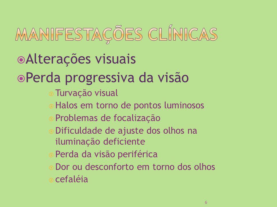 Alterações visuais Perda progressiva da visão Turvação visual Halos em torno de pontos luminosos Problemas de focalização Dificuldade de ajuste dos ol