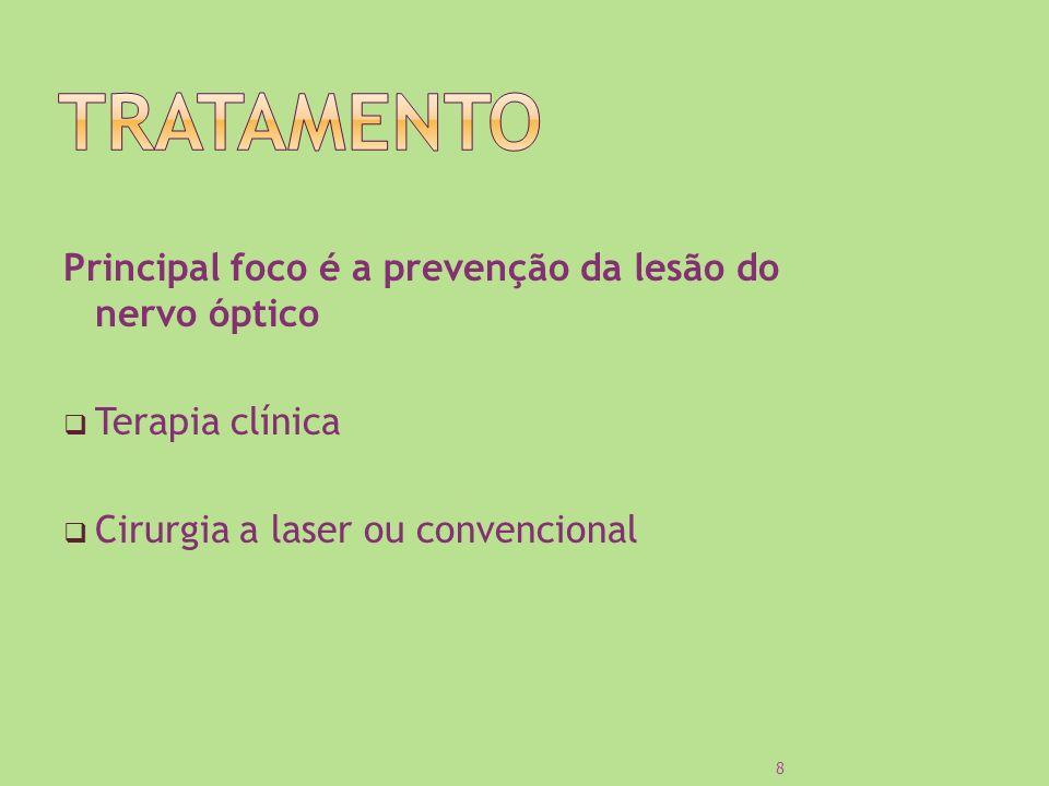 Principal foco é a prevenção da lesão do nervo óptico Terapia clínica Cirurgia a laser ou convencional 8