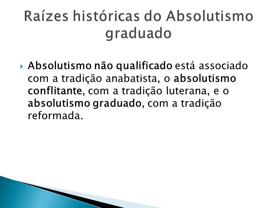 Absolutismo não qualificado está associado com a tradição anabatista, o absolutismo conflitante, com a tradição luterana, e o absolutismo graduado, co