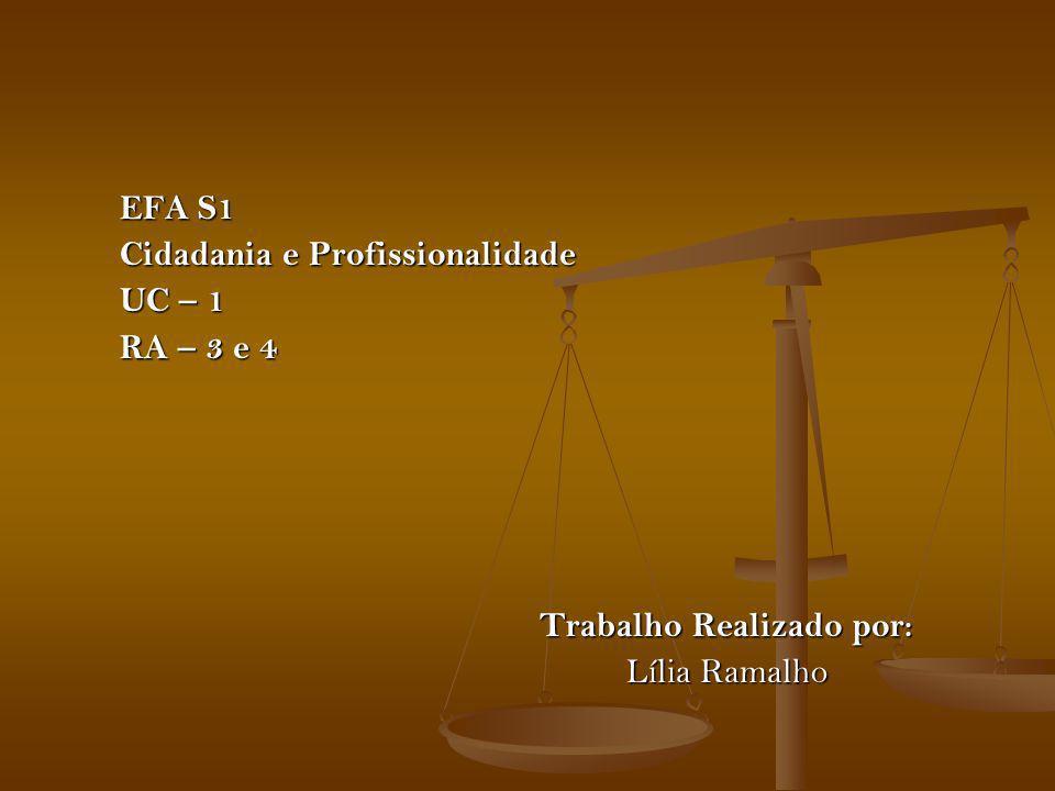 EFA S1 Cidadania e Profissionalidade UC – 1 RA – 3 e 4 Trabalho Realizado por: Lília Ramalho