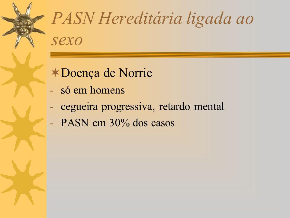 PASN Hereditária ligada ao sexo Doença de Norrie - só em homens - cegueira progressiva, retardo mental - PASN em 30% dos casos