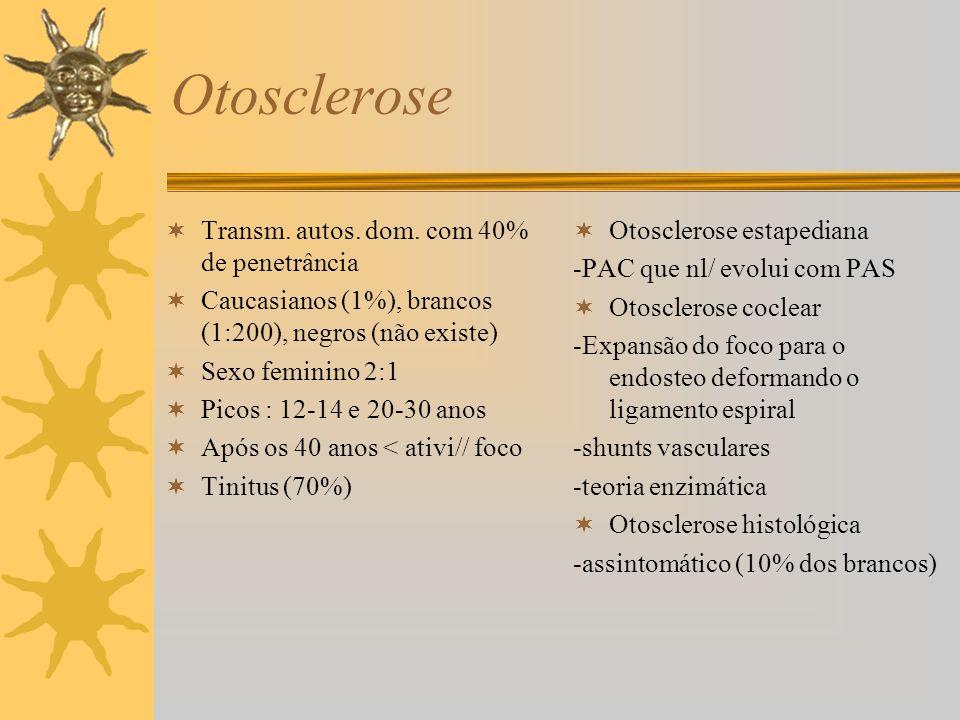 Otosclerose Transm. autos. dom. com 40% de penetrância Caucasianos (1%), brancos (1:200), negros (não existe) Sexo feminino 2:1 Picos : 12-14 e 20-30